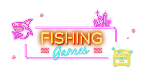 Darken neon style shark, treasure box and crystal with link to Rescuebet fishing game page.