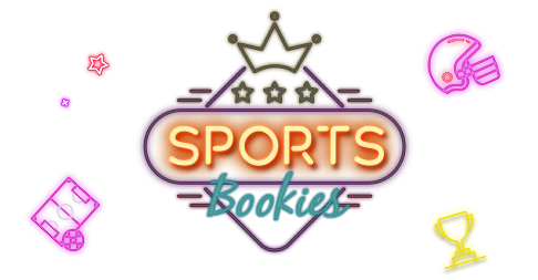 Lighten up neon style trophy, american football helmet and soccer field with link to Rescuebet sports bookies page.