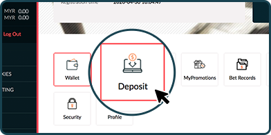 Rescuebet member dashboard interface showing the deposit button