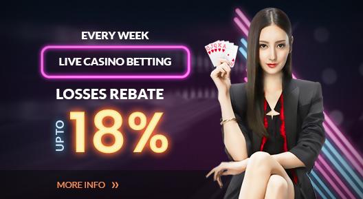 Rescuebet Live Casino 18% Rebate Bonus
