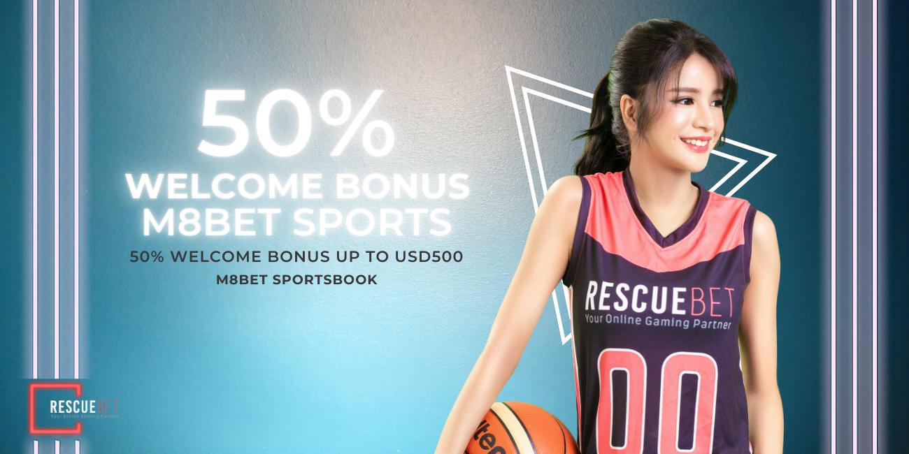 M8bet 50% Welcome Bonus