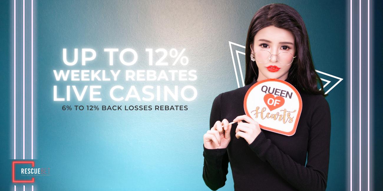Rescuebet Live Casino 12% Rebate Bonus