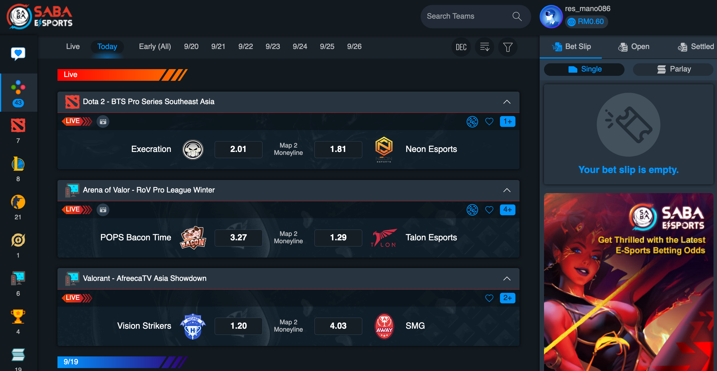Saba Esports Betting Interface In Rescuebet