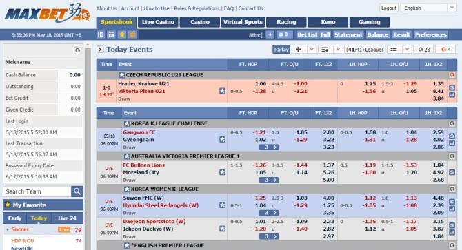 Maxbet Sportsbook Interface