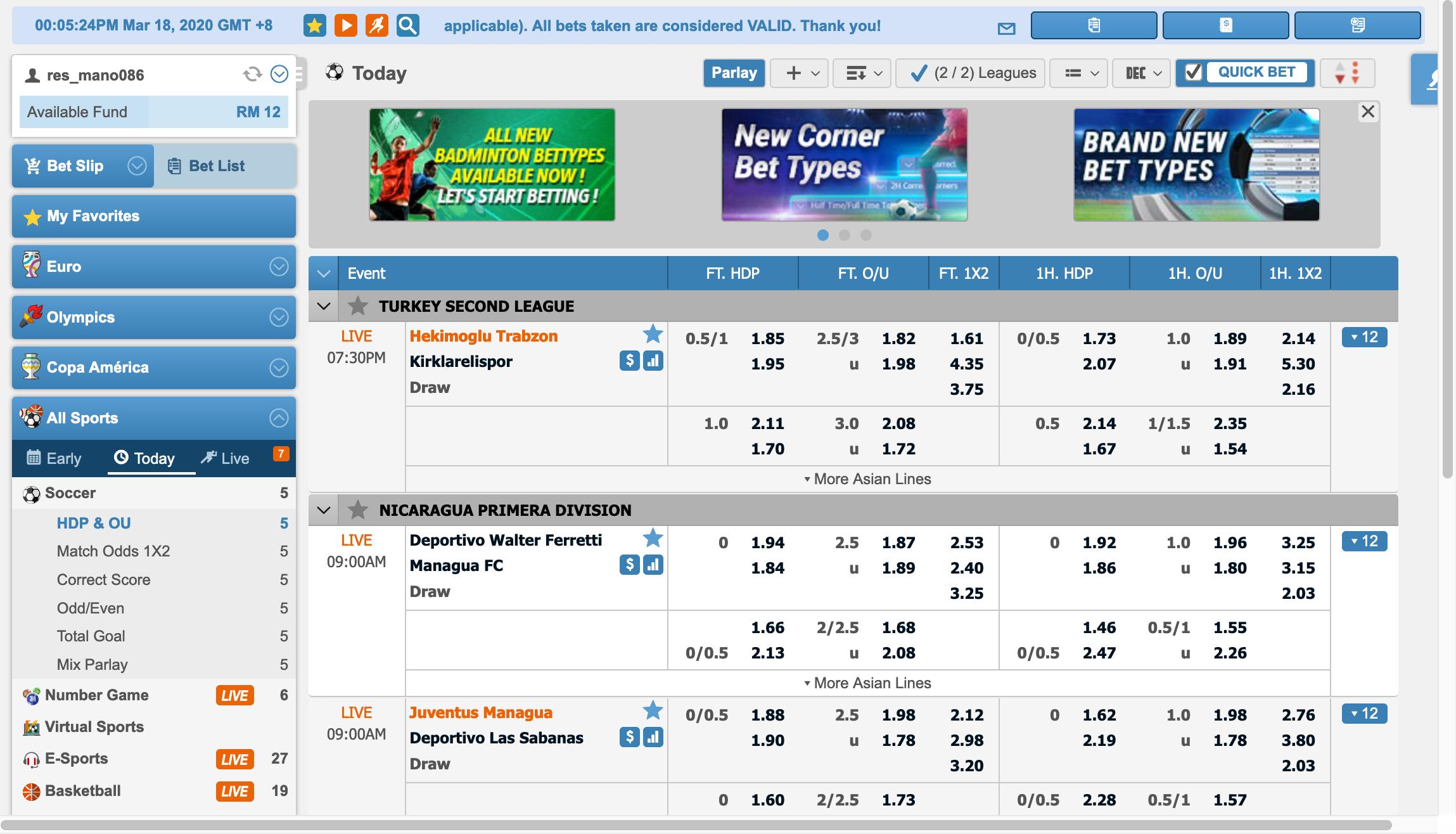 Maxbet Sportsbook Interface 1