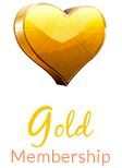 Gold heart shape and text gold membership