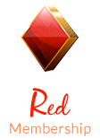 Red diamond shape with text red membership